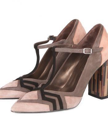 Zapatos Salón Ante Beige Tacón Lineal Angari Shoes.