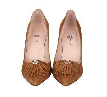 Zapatos Ante Beige Flor Flecos Tacón Lineal Angari Shoes.