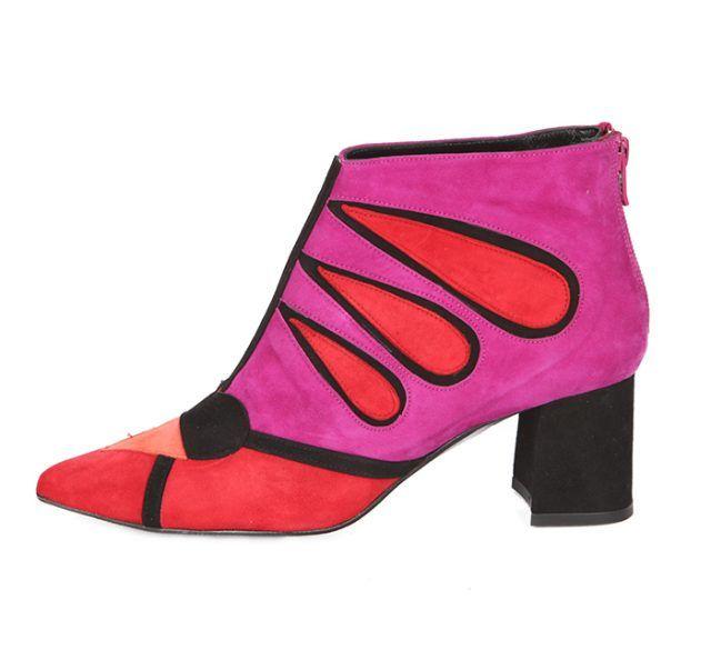 Botín Tacón Ante Negro Rojo Fucsia Angari Shoes.