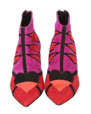 Botines Ante Multicolor Negro Rojo Fucsia Angari Shoes.