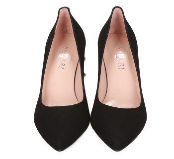 Zapatos Salón Tacón Perlas Negro Angari Shoes.