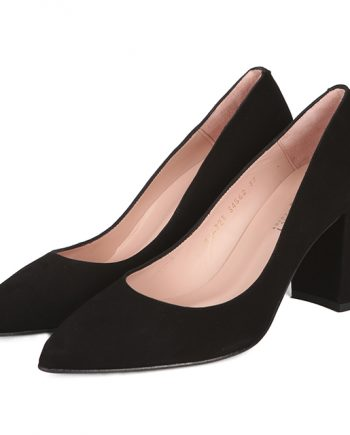 Zapatos Ante Negro Tacón Perlas Angari Shoes.