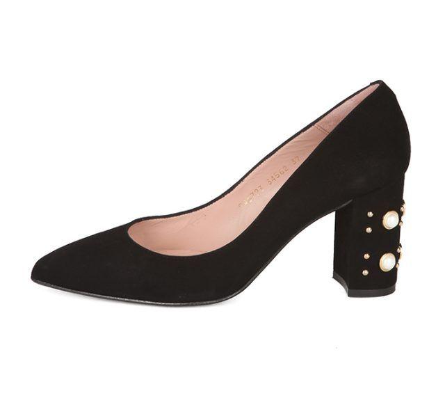 Zapato Salón Negro Ante Perlas Angari Shoes.