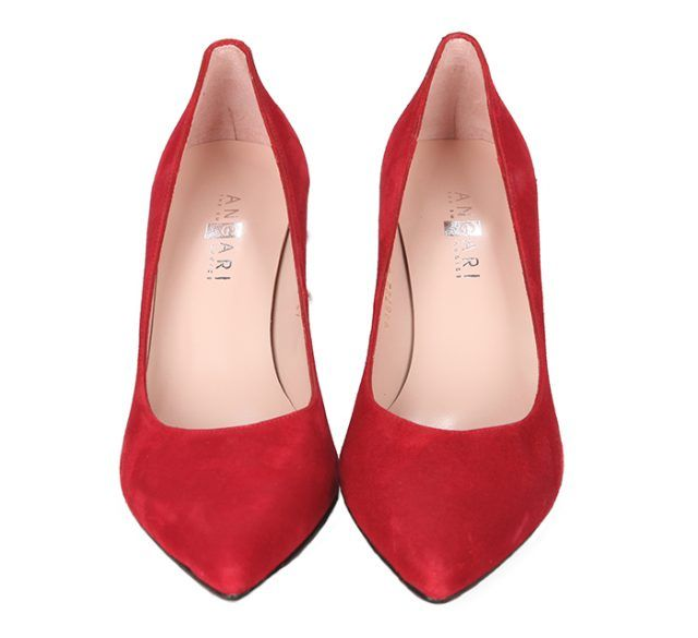 Zapatos Rojo Ante Tacón Perlas Angari Shoes.