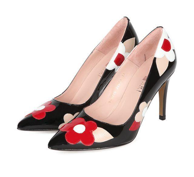 Zapatos Stiletto Negro Flores Charol Angari Shoes.
