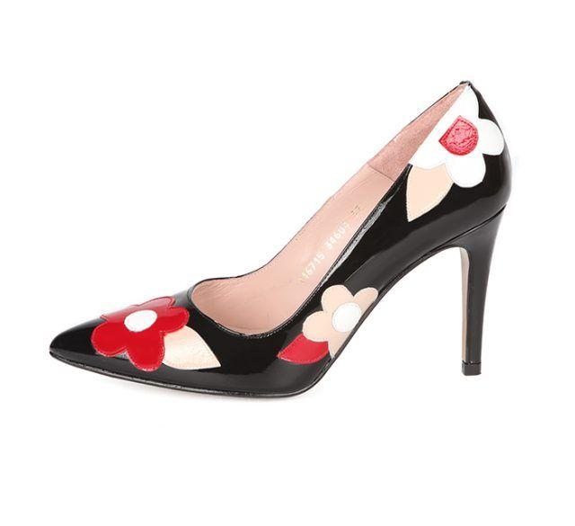Zapato Salón Negro Flores Charol Angari Shoes.