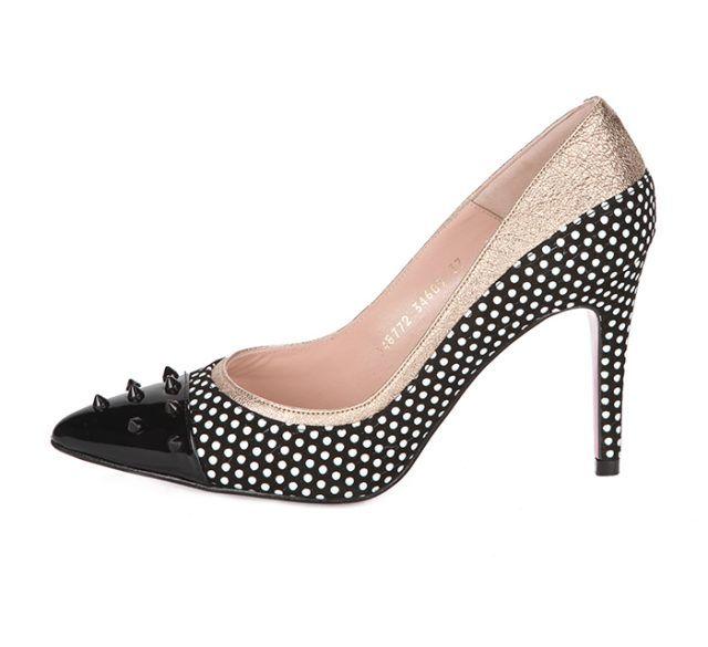 Zapato Charol Negro Topos Puntera Tachas Angari Shoes.