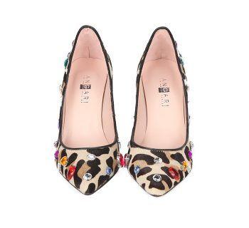 Stilettos Piel Ante Animal Print Detalle Joyas Multicolor Angari Shoes.
