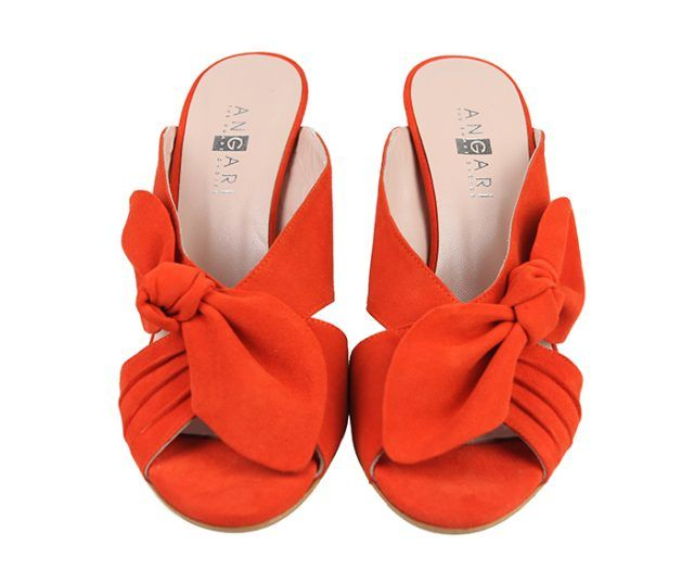 Sandalias Tacón Ante Red Detalle Lazo Angari Shoes.