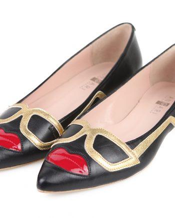 Zapatos Planos Mujer Piel Negro Charol Angari Shoes.