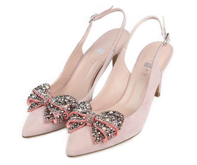Zapatos Salón Ante Nude Lazo Joya Angari Shoes.