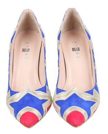 16efc665 Zapatos Fiesta Stilettos Ante Rojo Azul Plata Angari Shoes.