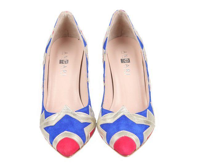 Zapatos Fiesta Stilettos Ante Rojo Azul Plata Angari Shoes.