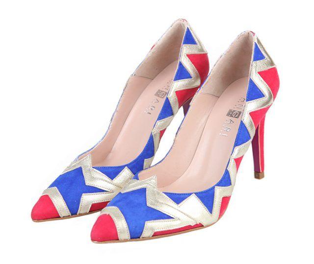 Zapatos Fiesta Ante Rojo Azul Estrella Plata Angari Shoes.