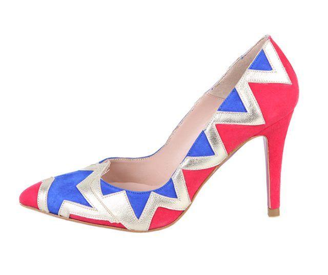 Zapato Stiletto Fiesta Ante Azul Rojo Piel Plata Metalizada Angari Shoes.
