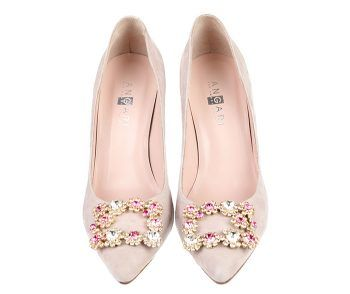 Zapatos Salón Mujer Nude Stilettos Detalle Piedras Angari Shoes.