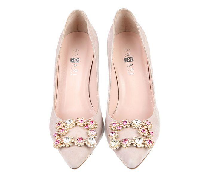 e8c5d3a5c Zapatos Salón Mujer Nude Stilettos Detalle Piedras Angari Shoes. Zapatos  Mujer Ante Color ...