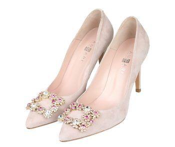 Zapatos Mujer Ante Color Nude Detalle Joyas Angari Shoes.
