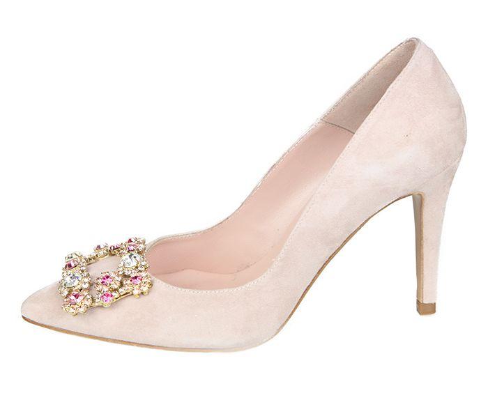 5c45924a7 Zapato Fiesta Mujer Stiletto Color Nude Ante Detalle Pedrería Angari Shoes.