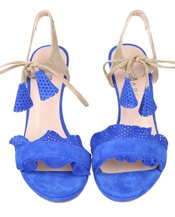 Sandalias Fiesta Mujer Ante Azul Angari Shoes.