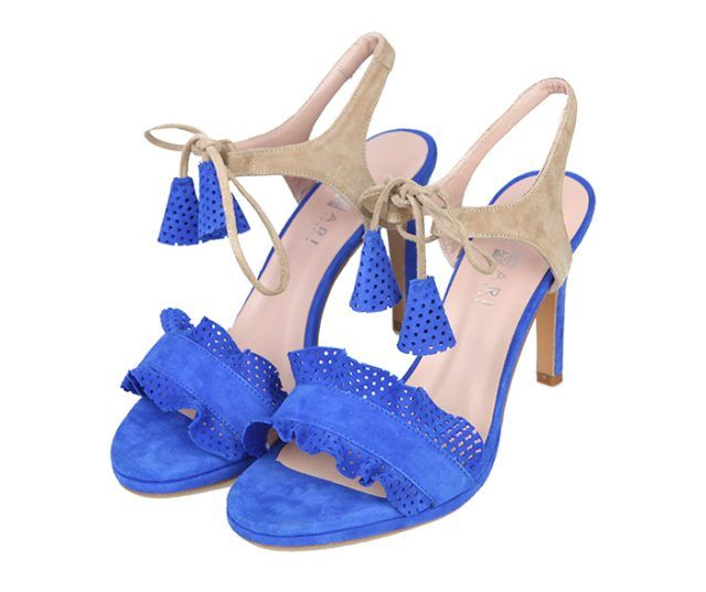 Sandalias Mujer Tacón Fino Ante Azul Beige Angari Shoes.