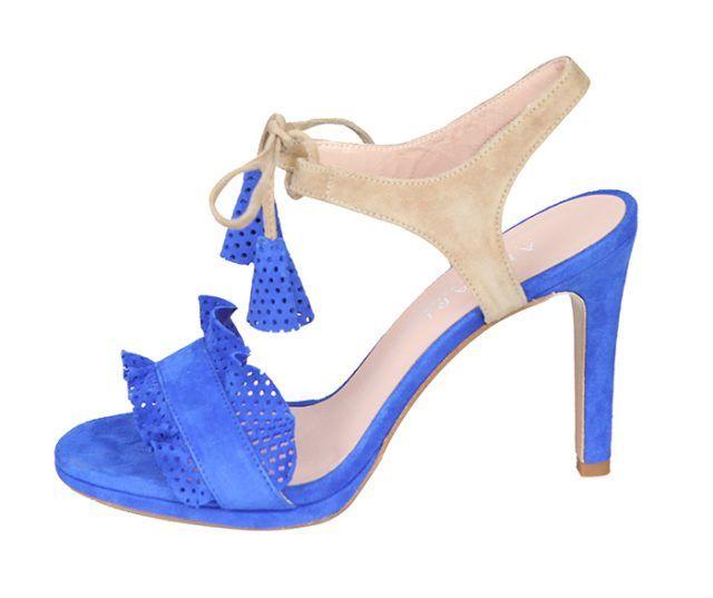 Sandalia Fiesta Mujer Ante Azul Beige Detalles Calados Angari Shoes.
