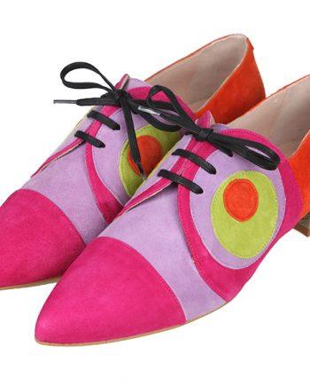 Zapatos Planos Mujer Ante Multicolor Cordones Angari Shoes.