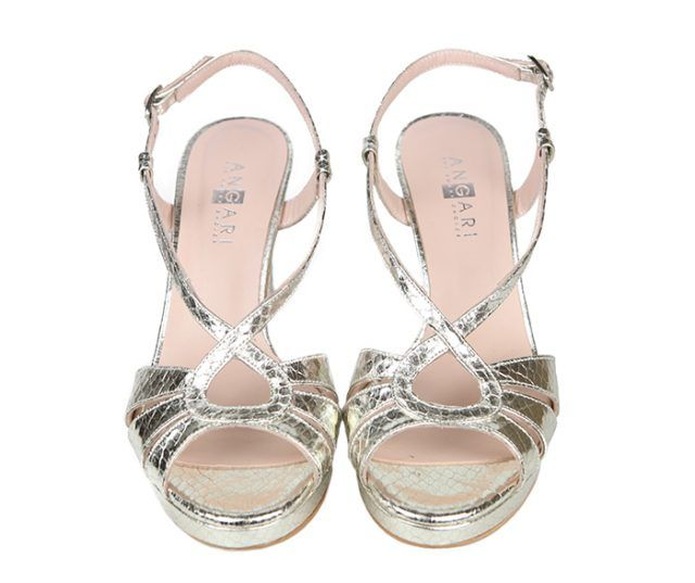 Sandalias Fiesta Piel Plata Metalizada Angari Shoes.
