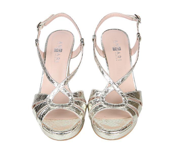 7bc1abb8636 Sandalias Fiesta Piel Plata Metalizada Angari Shoes.