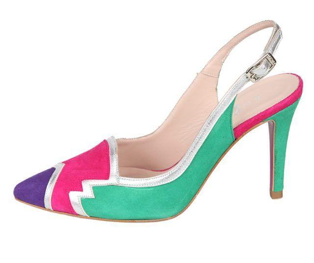 Zapato Stiletto Mujer Fiesta Varios Colores Ante Detalle Plata Angari Shoes.