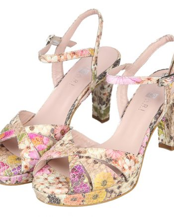Sandalias Plataforma Mujer Color Nude Floral Angari Shoes.