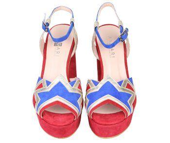 Sandalias Mujer Fiesta Plataforma Ante Rojo Azul Angari Shoes.