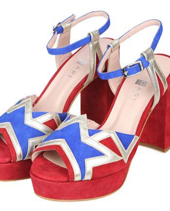 Sandalias Plataforma Fiesta Rojo Azul Plata Angari Shoes.
