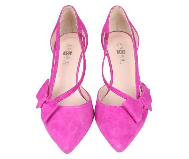 Zapatos Salón Mujer Ante Fucsia Detalle Lazo Aberturas Laterales Angari Shoes.