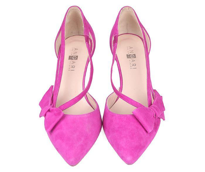 5d2b9062 Zapatos Salón Mujer Ante Fucsia Detalle Lazo Aberturas Laterales Angari  Shoes.