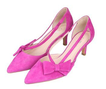 Zapatos Mujer Salón Tacón Bajo Fucsia Ante Angari Shoes.