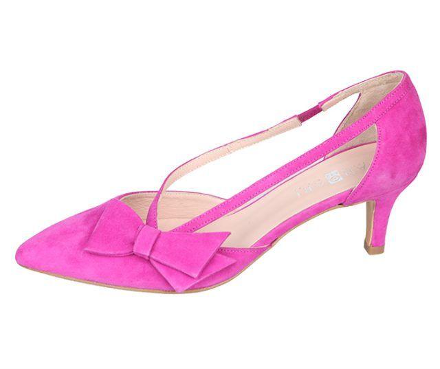 Zapato Salón Ante Fucsia Lazo Angari Shoes.