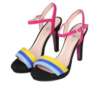 Sandalias Mujer Fiesta Plataforma Ante Negro Detalle Colores Angari Shoes.