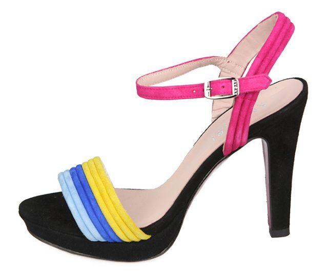 Sandalia Mujer Eventos Plataforma Ante Negro Colores Angari Shoes.