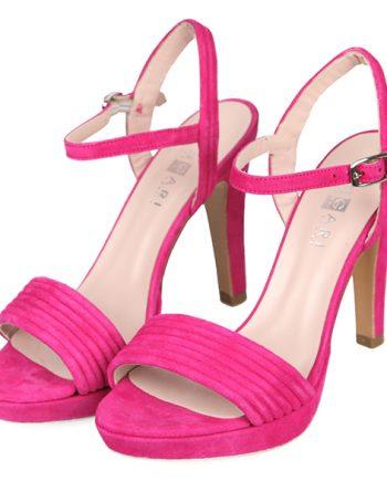 Sandalias Mujer Fiesta Plataforma Ante Fucsia Angari Shoes.