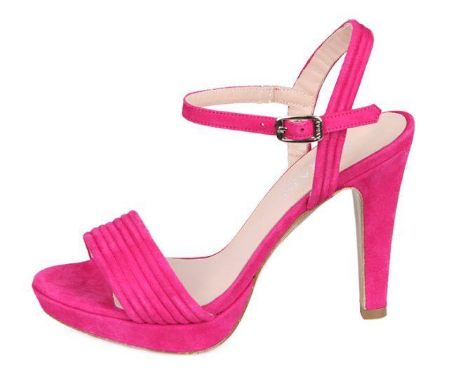 Sandalia Mujer Fiesta Eventos Ante Fucsia Plataforma Primavera Verano Angari Shoes.