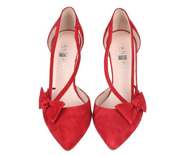 Zapatos Mujer Salón Ante Rojo Detalle Lazo Angari Shoes.