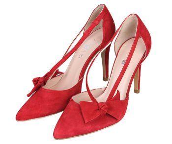 Zapatos Salón Mujer Stilettos Ante Rojo Tacón Fino Detalle Lazo Angari Shoes.