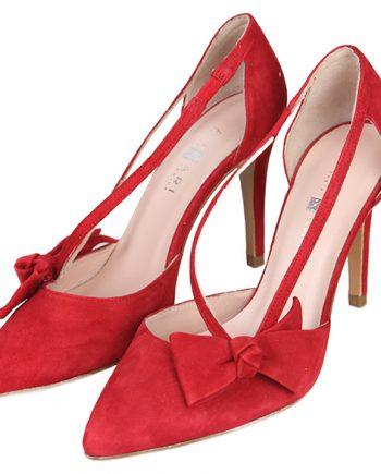 f00ea69ba Zapatos Salón Mujer Stilettos Ante Rojo Tacón Fino Detalle Lazo Angari Shoes .