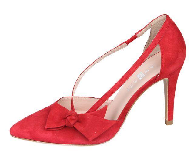 Zapato Mujer Stiletto Rojo Ante Tacón Fino Lazo Aberturas Angari Shoes.