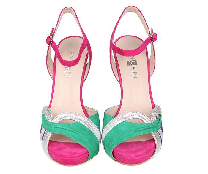 54ecc4af6e6 Sandalias Mujer Fiesta Plataforma Ante Fucsia Tricolor Metal Angari Shoes.