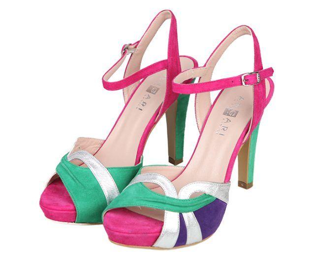 Sandalias Mujer Fiesta Evento Ante Tricolor Plata Metalizada Angari Shoes.