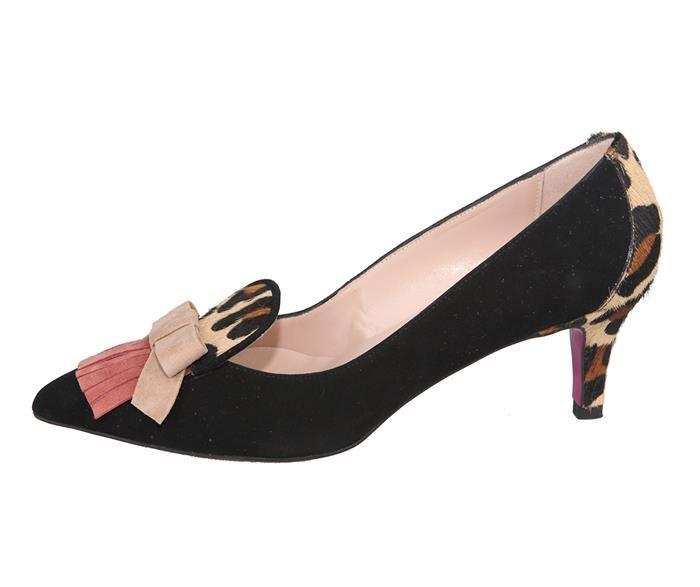 28af5224233 zapato tacón medio con flecos y lazo en la pala