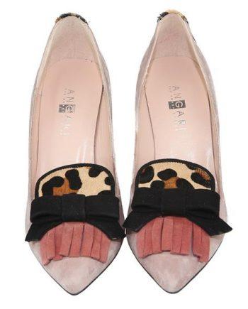 zapatos de salón con flecos y lazo en pala
