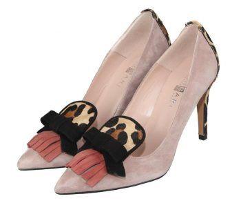 zapatos de salón modelo margarita con tacón forrado en animal print